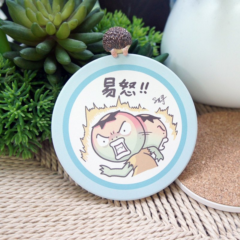 8元哥-易怒【陶瓷吸水杯墊】