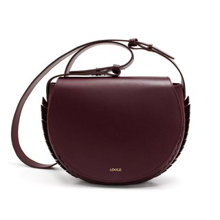 【ADOLE】 Laurel weave - leather cross-body bag - wine red
