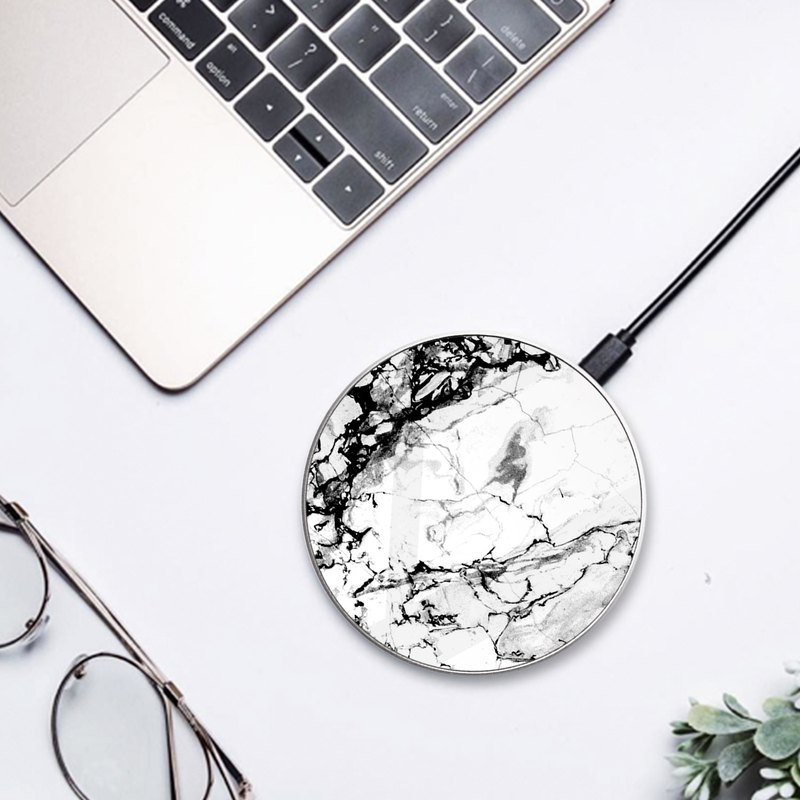 Black & White Marble Wireless Phone Qi Charger compatible with many phones