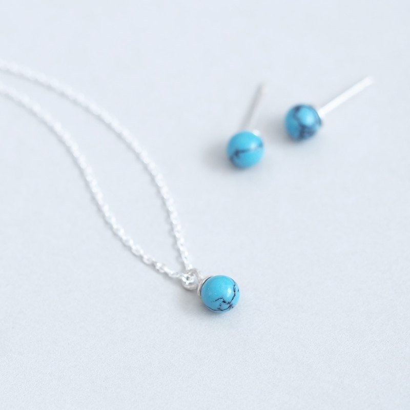 Turquoise blue set) Turquoise Stone Necklace Earrings Set 925 Silver