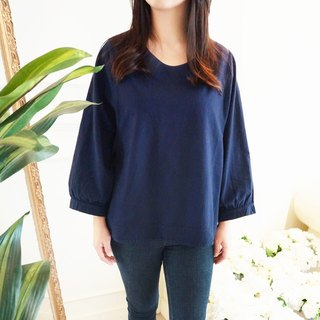 Cotton wide-sleeved shirt / dark blue
