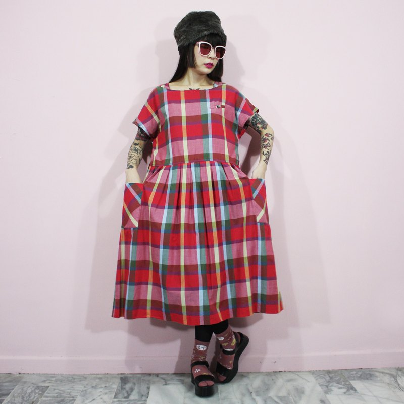 (Vintage dress) Red Plaid Japanese vintage dress (birthday gift) F3230