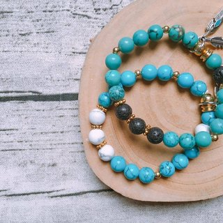 A touch of blue pine turquoise ore bracelet