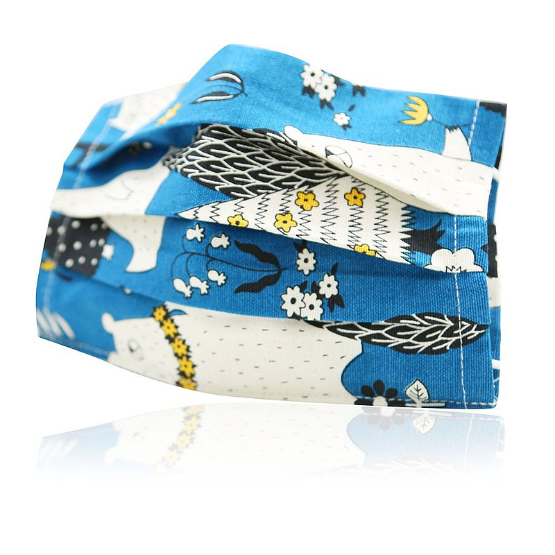 Flat children's reusable breathable cotton imported cloth mask cover (blue night animal)