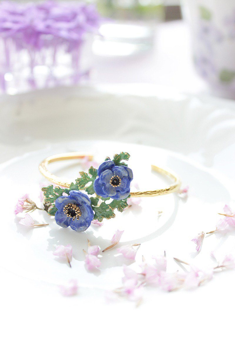 Anemone Bangle Violet , Flower Ring , Anemone flower