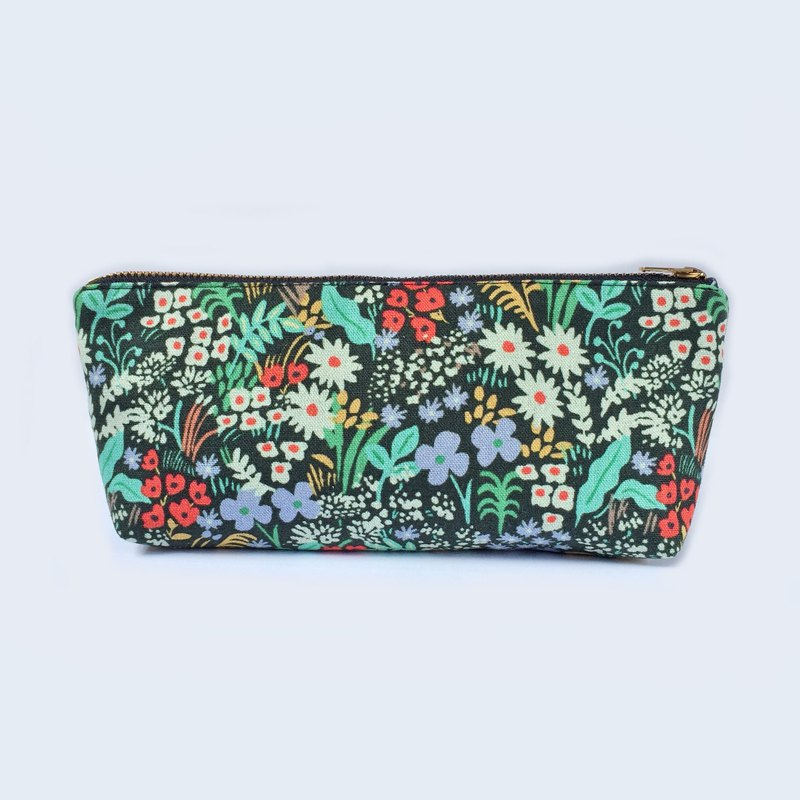 日本棉麻 筆袋/化妝袋 Canvas Pencil Case Zipper Pouch, Wildflower Floral Print
