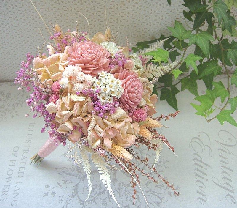 Masako 大索拉玫瑰 永生花 乾燥花束  新娘捧花 粉