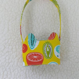 Cat ears with fruits and vegetables take the green drink cup sleeve bag / double-sided available