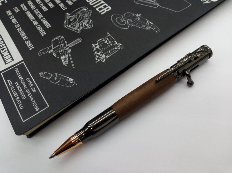 Bullet-type Log Holder Pressed Ballpoint Pen (Walnut-Classic Black)