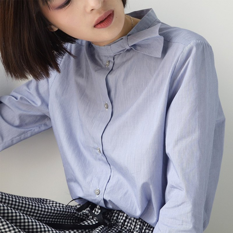 Blue and white striped bow shirt|Shirt|Spring|Long-staple cotton|Sora-253