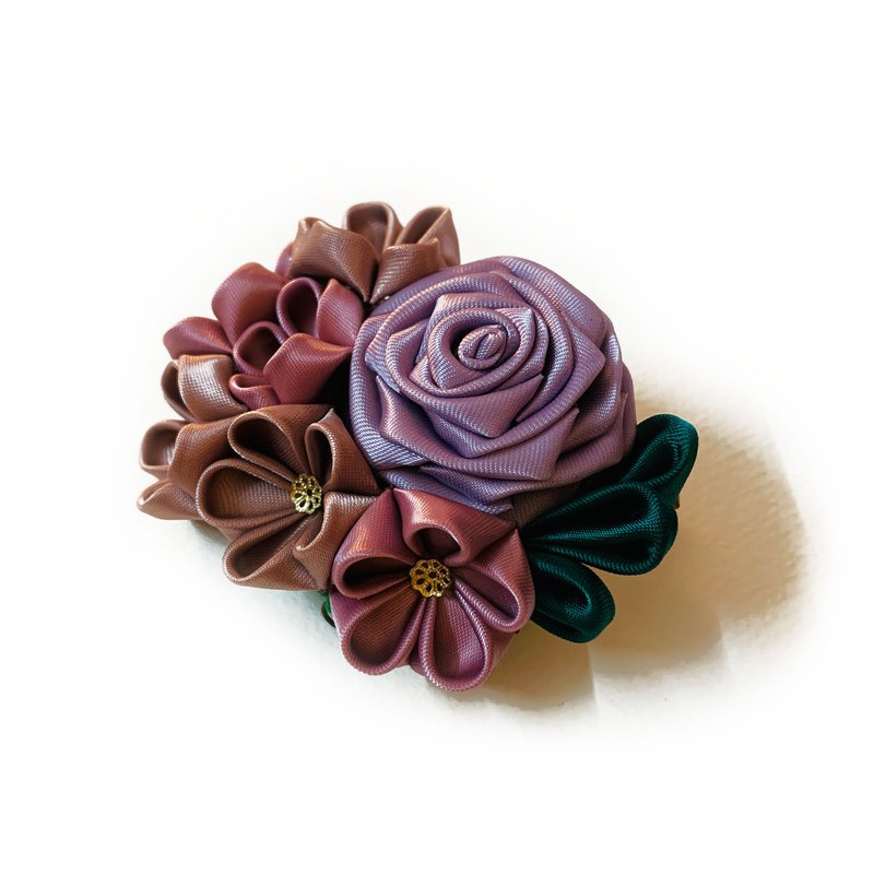 Traditional Japanese Tsumami Kanzashi Purple Rose Floral Hair Clip