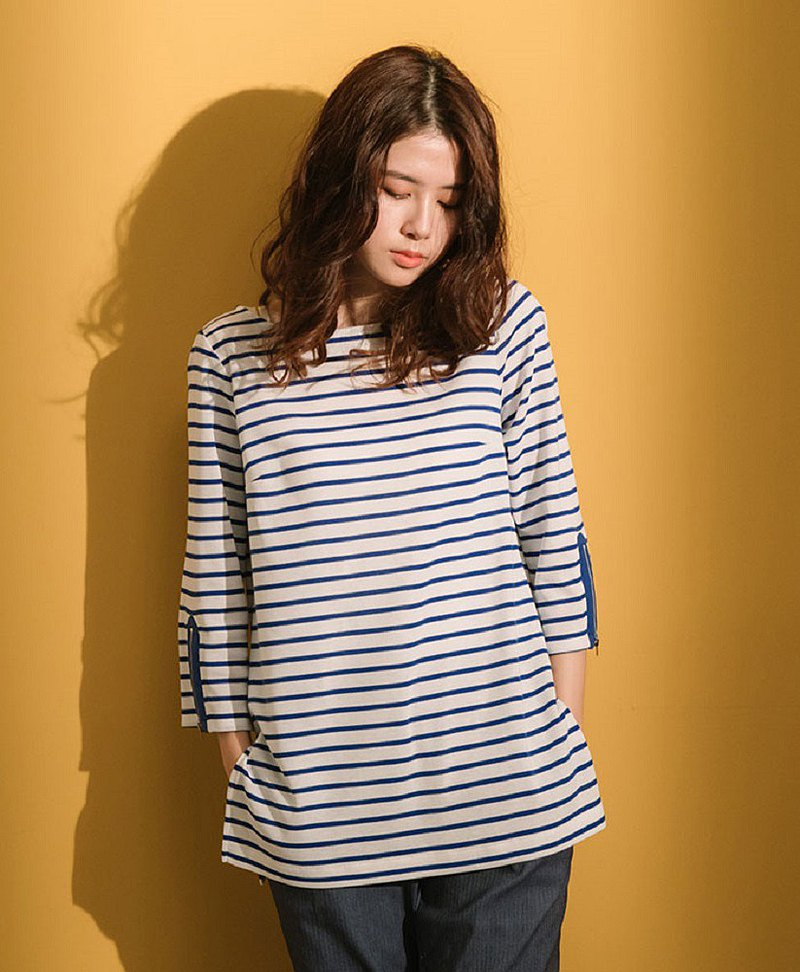 Slowly striped three-quarter sleeve cotton top-sea