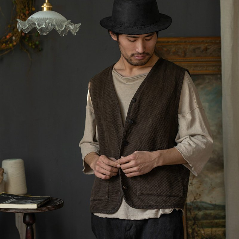Stray chestnut coffee plant dyed Kendo vest men and women with the same paragraph natural organic cotton retro tooling vest