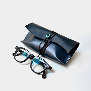 [Deep sea magnifying glass] vegetable tanned cowhide glasses case navy blue leather sunglasses bag turquoise stone turquoise Valentine's day gift custom lettering as a gift