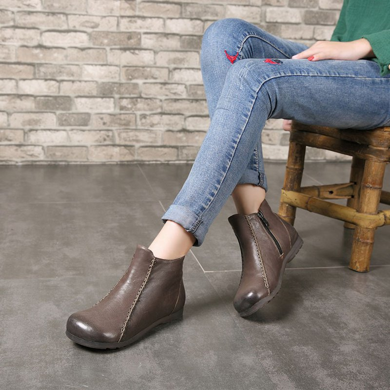Leather ankle boots female original flat bottom retro comfortable women's boots