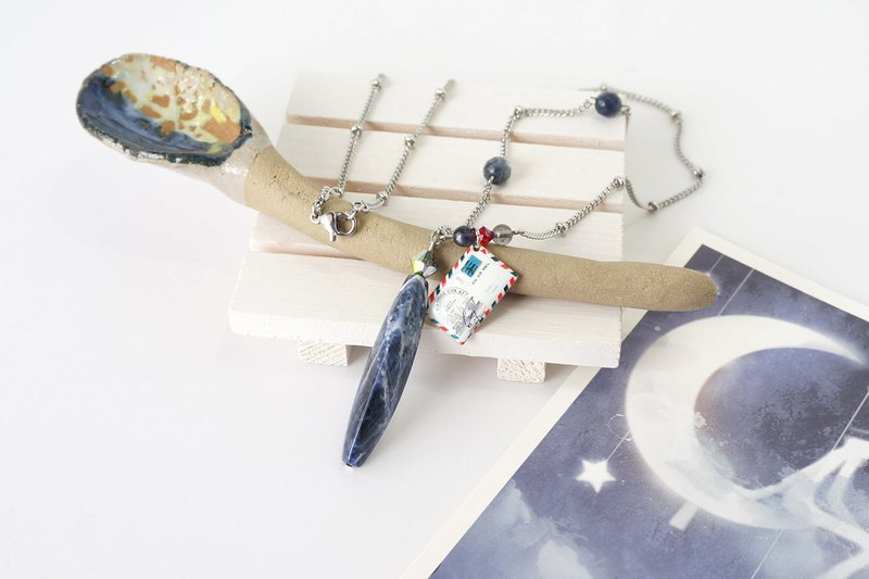 Long Triangular Prism Blue Sodalite Stone Necklace with Postcard Charm