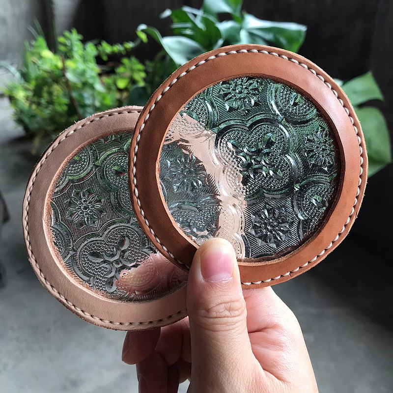 Begonia Flower Vintage Glass Leather Coaster || Gift Packaging || Graduation Gift