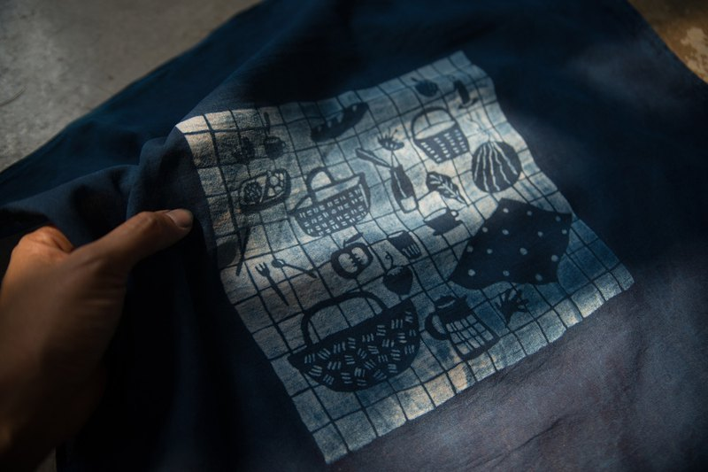 Natural indigo hand-dyed | Picnic Otaku | utilities square cloth for cozy life