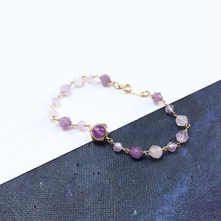 14kgf-amethyst & rose quartz exquisite bracelet
