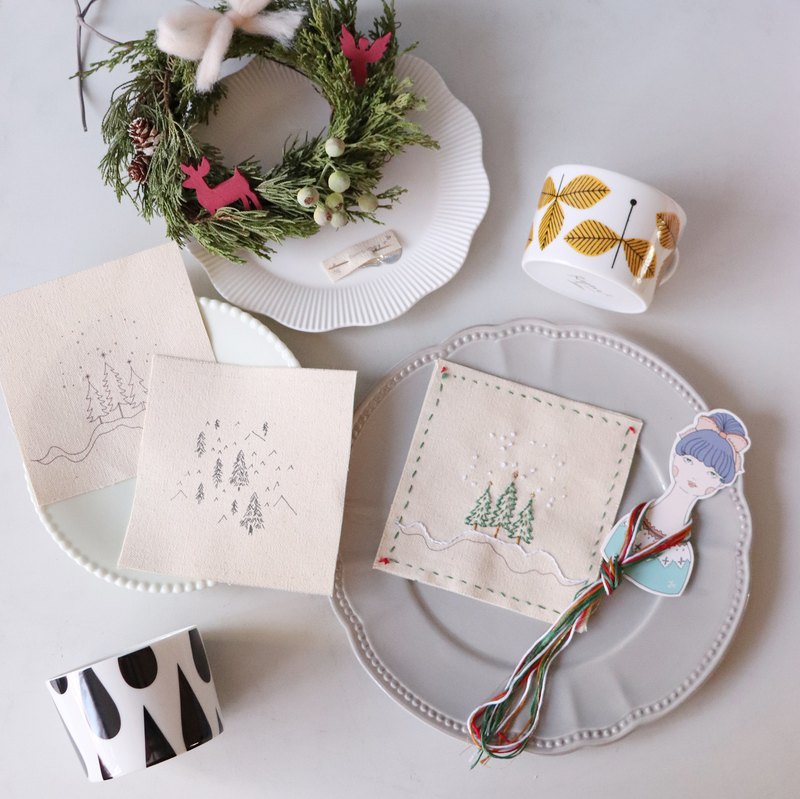 Christmas tree hand made coaster illustration embroidery kit