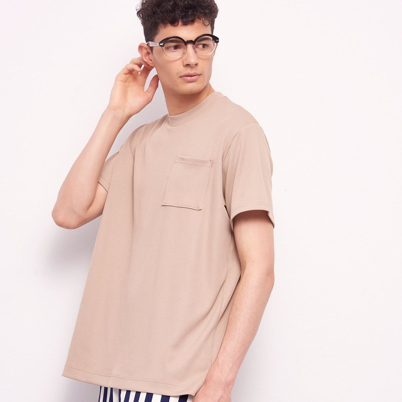 Stone@s Rib T-shirt In Beige / Ribbed Pocket Short-Sleeve Camel Khaki