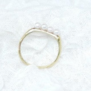 ★ resale ★ simple pearl ring (freshwater * 4)