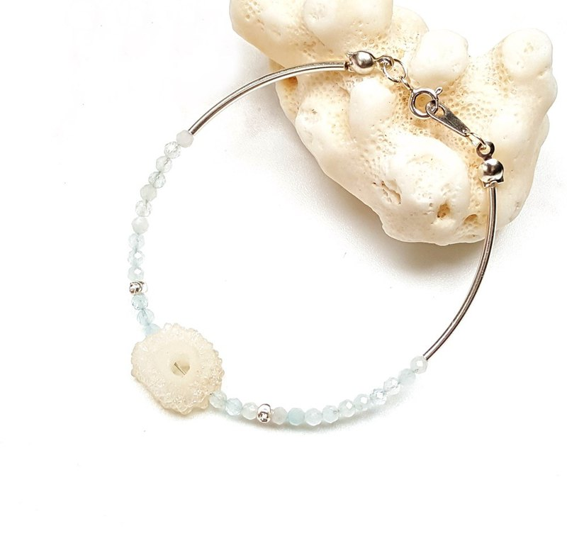 <Pet Love Series-Seeking Dreams> Natural Agate Ores Crystal Cluster Aquamarine 925 Sterling Silver Bracelet Customization
