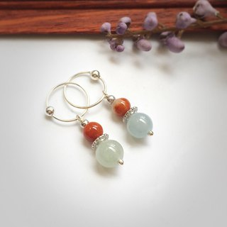 [The treasure box of all the people] - 妃 妃 - natural jade beads embellished with pure silver earrings