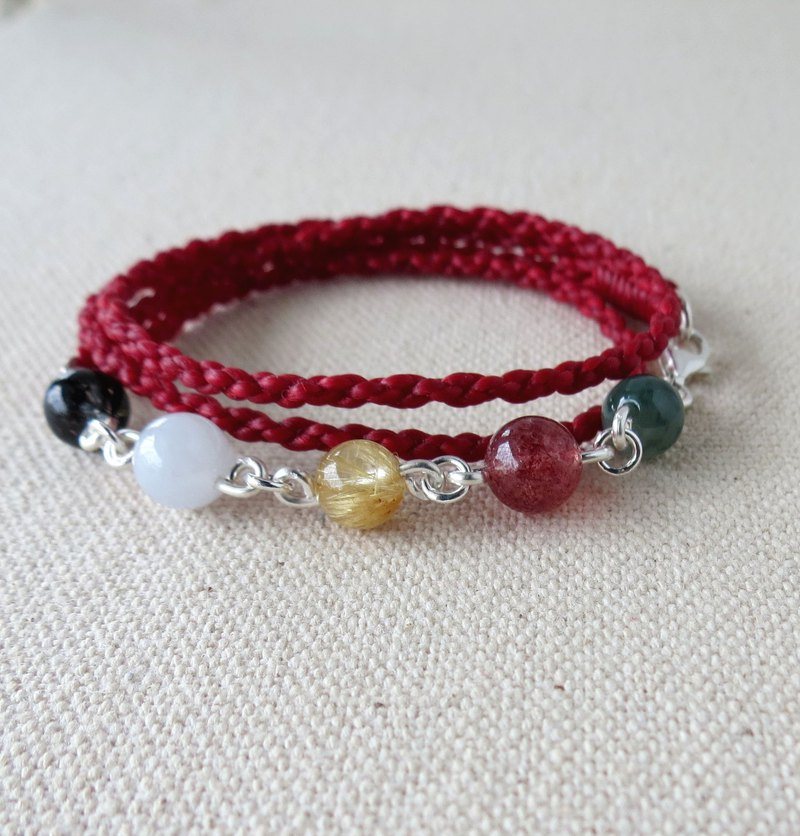 The birth year*lucky luck five elements bead silk wax bracelet [four-strand double-chain]*increase the overall fortune