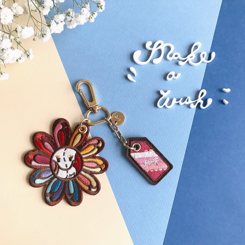 Amy's Sun Flower Leather Ornament x Key Ring