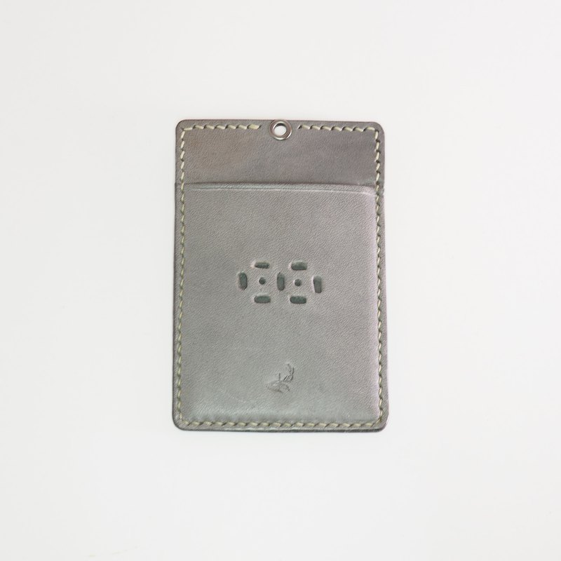 Leather ID pouch - Warm Gray