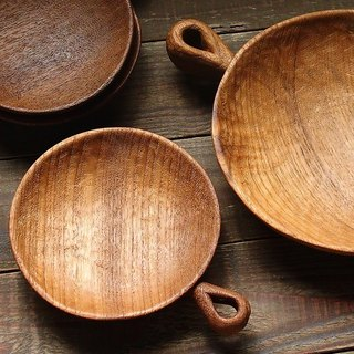 Clean up. Hand made wooden round dish - teak