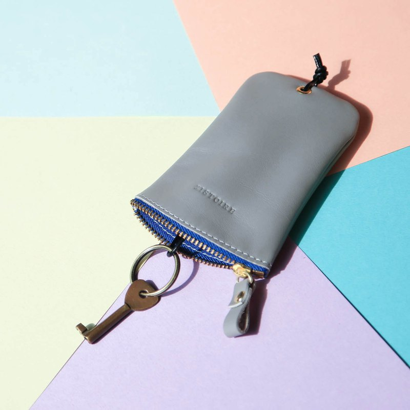 [Keys' Sweet Home / Key Case] Fog Grey (Blue Zipper) Misty Gray