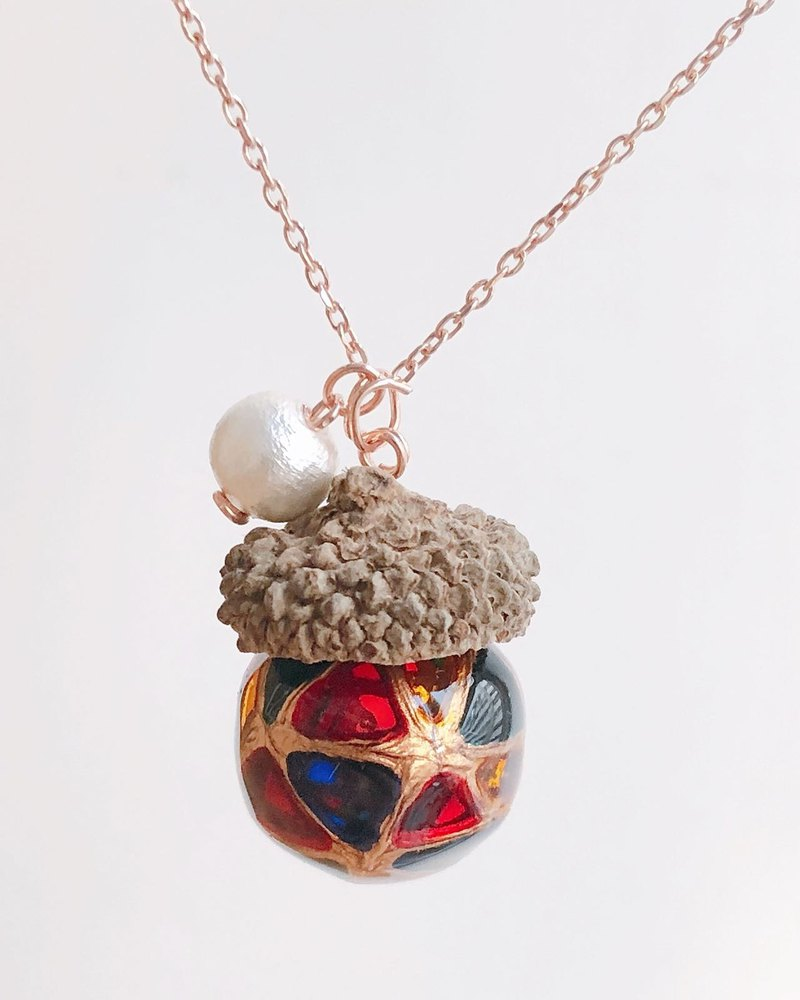 Hand-painted mosaic acorn necklace (small)