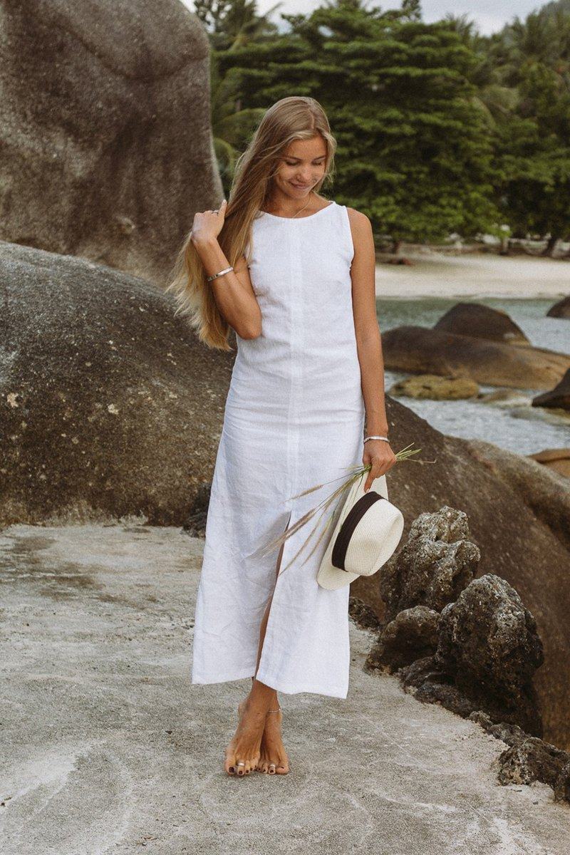 Classic White Linen Maxi Dress | Long Dress