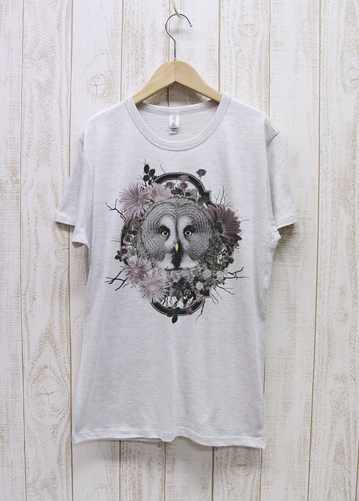 ronron GreatGrayOwl Tee Flower Frame Heather White / R037-TT-HWH