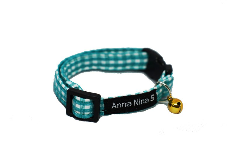 [AnnaNina] Pet Cat Collar Green and White Plaid Element Collar XS ~ M