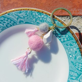 The princess is not a princess disease - wool felted tassel key ring