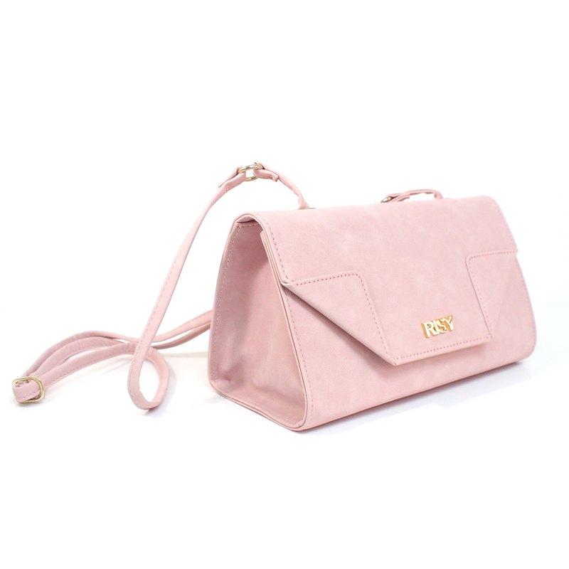 三角側背包/斜背包/肩背包 - 粉紅色