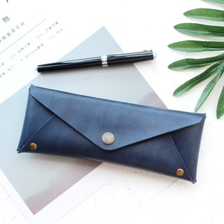 Mountain blue leather large-capacity pencil case leather pencil case stationery bag glasses case customizable free lettering