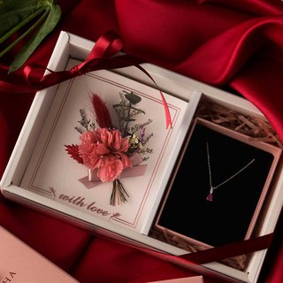 Carnations Natural Flower Pink Ruby Necklace Gift Set - Card Style