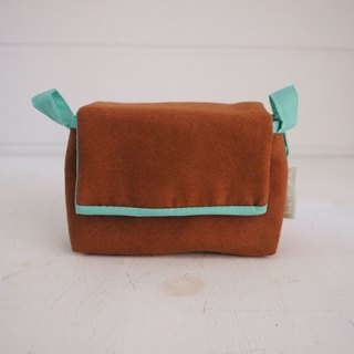 Plain Face Buckle Camera Bag Zipper Style - Suede Brown + Aqua (Monocular / Single Eye)