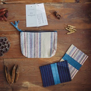 See | cotton hand-woven fabric striped environmental storage bag purse zipper bag natural plant blue dye