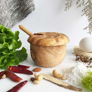 Olive wood Salt Keeper/ Sugar Keeper with spoon