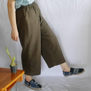 hand-woven cotton fabric long pants (dark brown)