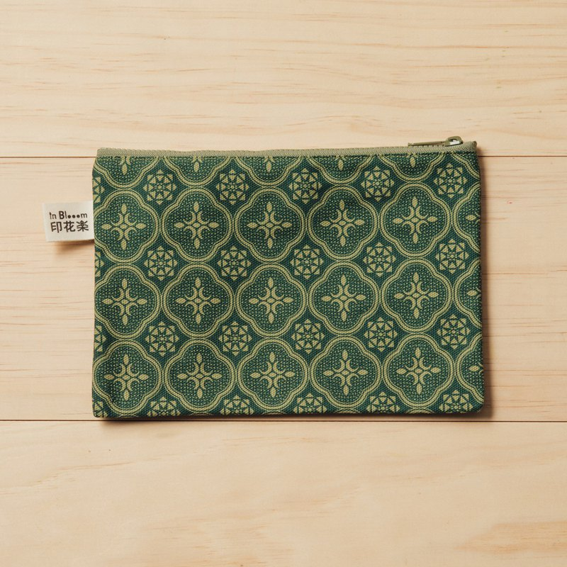 Zipper Flat Pouch - L14/Begonia Glass Pattern/Vintage Green