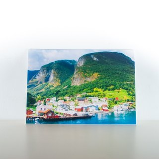 Photographic Postcard: Small town on the edge of a Norwegian fjord II