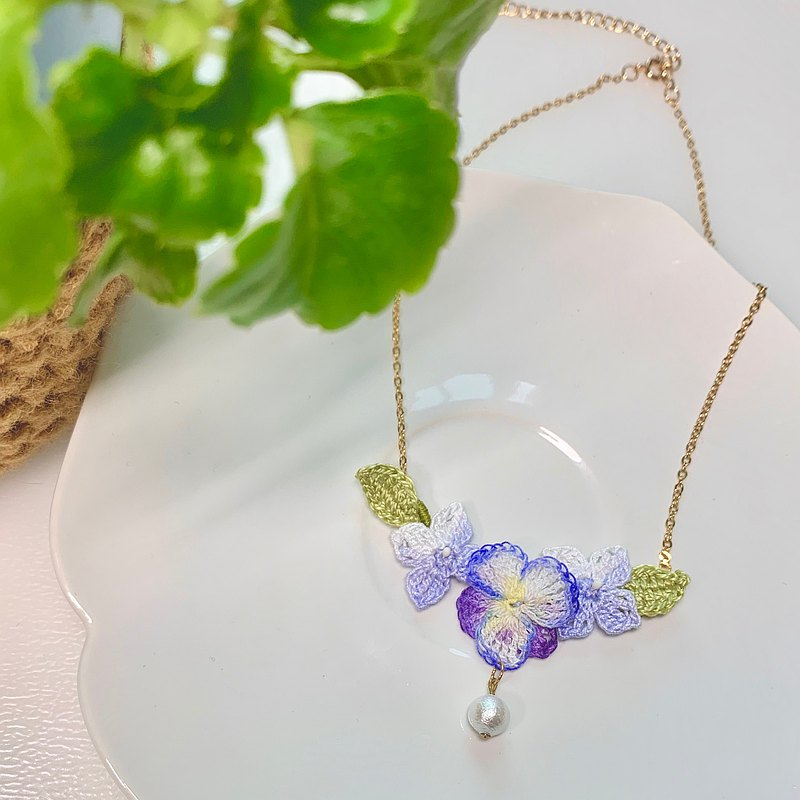 Pansy Hydrangea Purple Blue Pearl Hook Flower Woven 925 Necklace Necklace Flower Ornament Custom