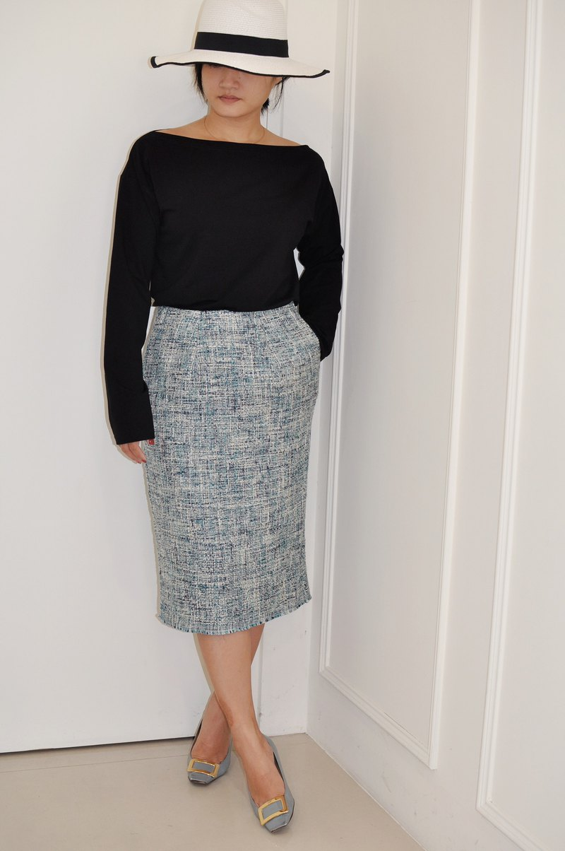 Flat 135 X Taiwan designer series hem with green woven fabric narrow version over the knee pencil skirt