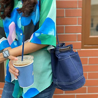 Mini Navy Canvas Bucket Bag with strap /Leather Handles /Daily use